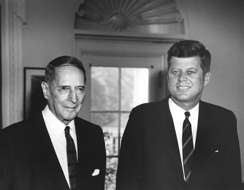 U.S. General Douglas MacArthur visits U.S. President John F. Kennedy at the White House, Washington, D.C., on August 16, 1962.