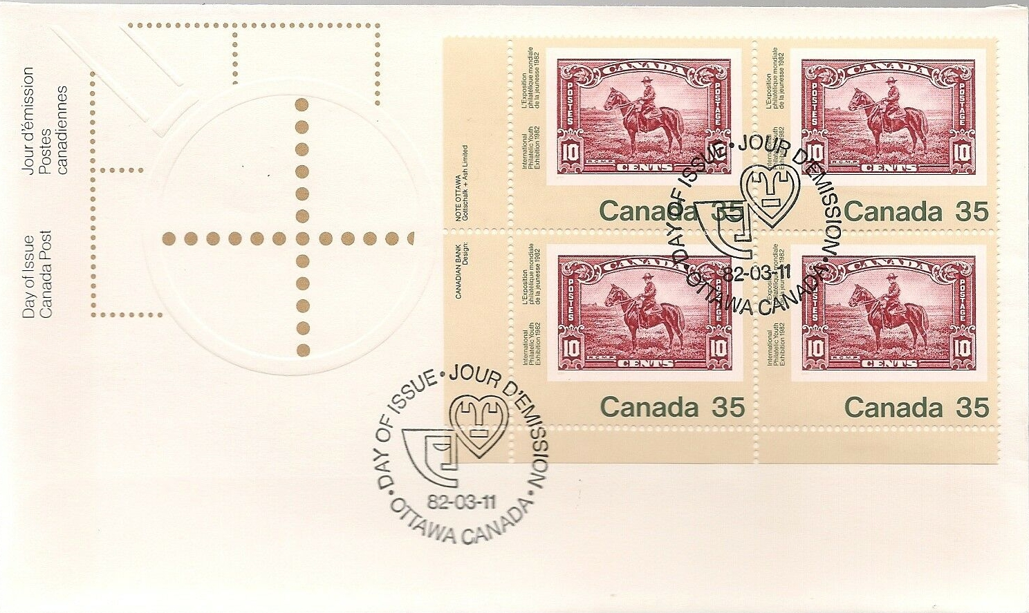 Canada - Scott #911 (1982) first day cover, block of 4