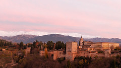 Alhambra and Sierra Nevada during sunset