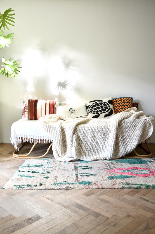 hand knitted blanket - 100% wool