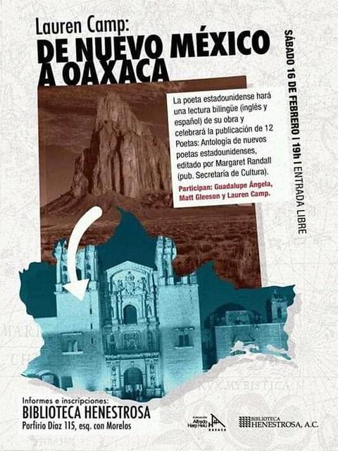 De Nuevo México a Oaxaca, de Lauren Camp. Presentación del libro, hoy en la Biblioteca Henestrosa - 19 h. #Cartelera #OaxacaTieneCultura #OaxacaLoTieneTodo #OaxacaEsCultura https://t.co/Qk97l3WuNA