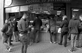 Queuing for lunch in Preston | by Tony Worrall
