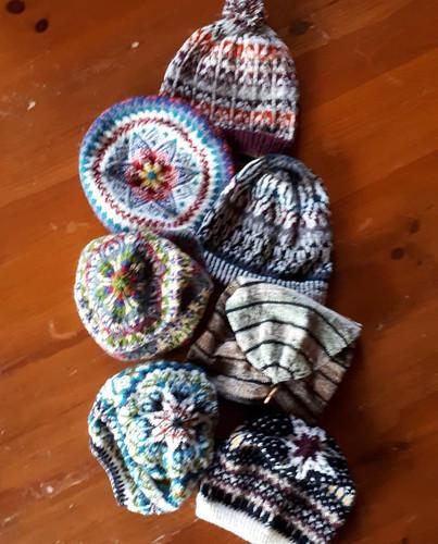 psknitting50 (Paulette)'s colourwork hats from Kate Davies book Milarrochy Heids