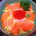 Hokkai Don - Fresh Raw Salmon, Squid and Salmon Roe on Rice