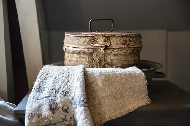 Oud blik linnen doek