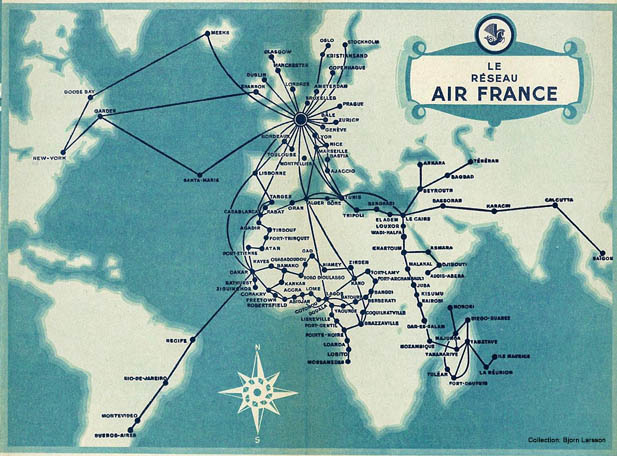 transportation air france map 1947 feb