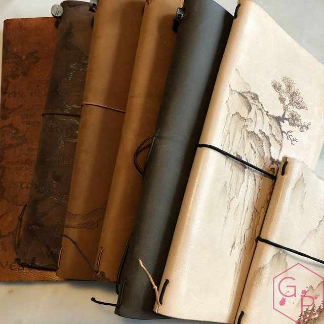 Toronto Pen Company Traveler's Notebook Leather Covers with Pyrography & Paintings 22