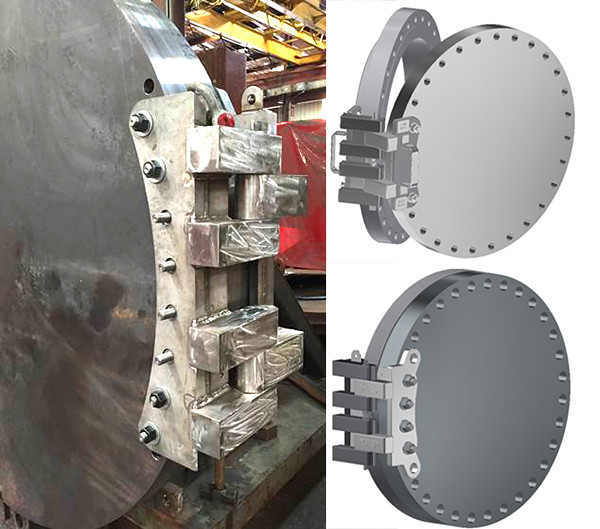 Permanent and Removable Hinges for Supporting a Medium to Heavy Duty Blind Flange
