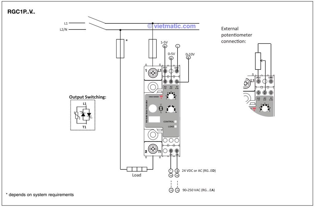 Sơ đồ đi dây đối với tín hiệu điều khiển là điện áp