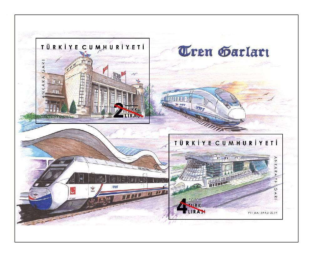 Turkey - Train Stations (January 24, 2019) miniature sheet of 2