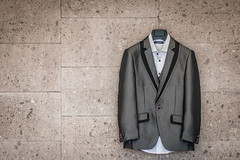 Groom's Suit hanging on a wall
