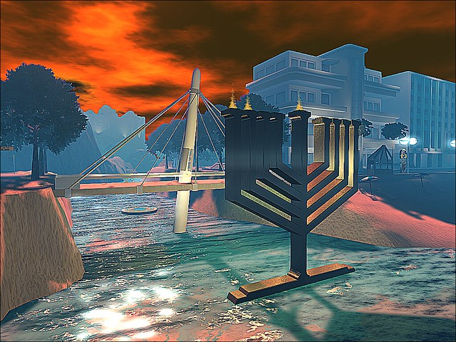 Second Life Israel - Operatic Bridge Behind A Golden Chanukiah