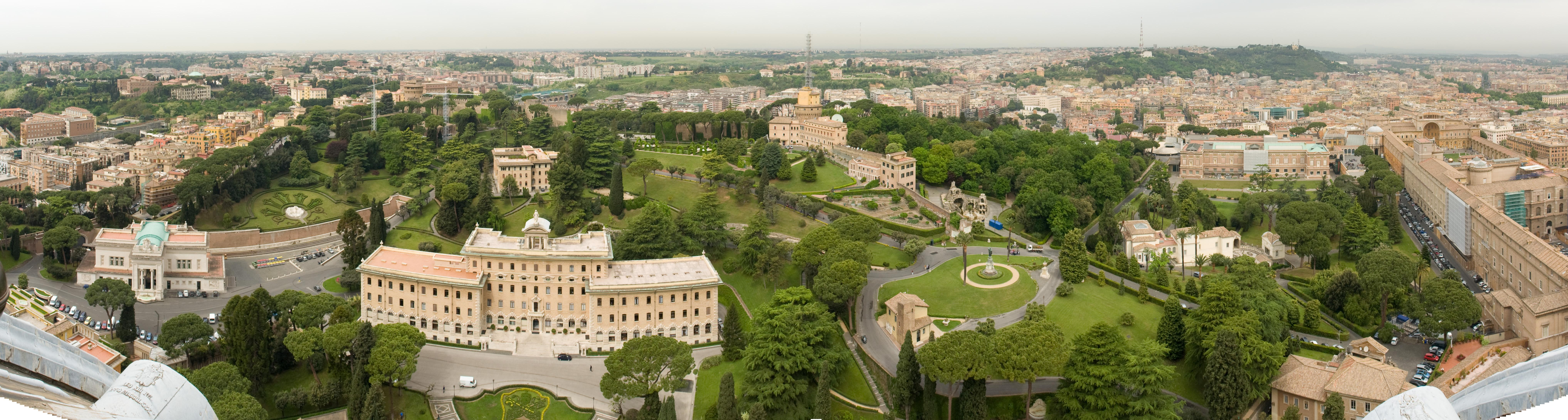 Panorama of the gardens from atop St. Peter's Basilica in the Vatican City. Photo taken by <a href=