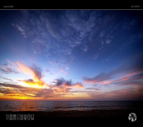 sky clouds sun sunset dusk cloud sea ocean seascape skyscape aravenimage tomraven q12019 lumix g85