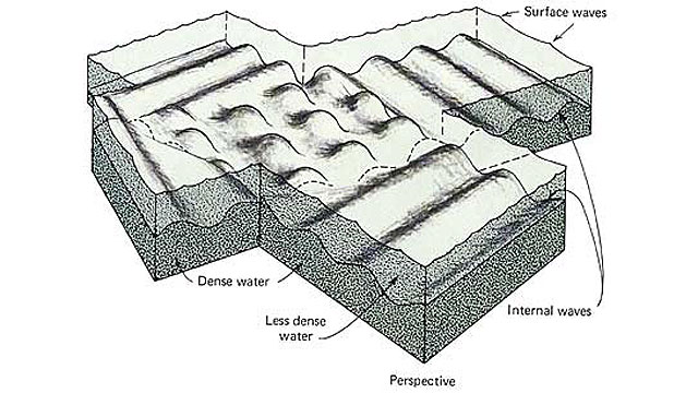 Schematic representation of internal and surface waves in the ocean