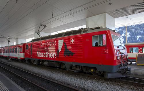 Matterhorn-Gotthard Bahn MGB 104  Disentis-Mustér 17 februari 2019