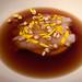 Raw langoustine, bone marrow royale, barley, langoustine essence