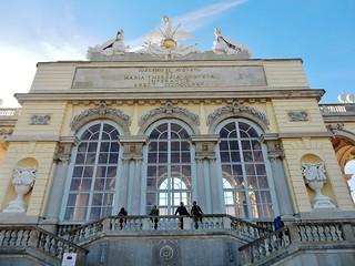 Image of Gloriette. vienna schonbrunnpalace thegloriette grand windows statues stetely urns