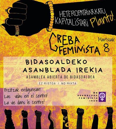 Cartel anunciador asambleas abiertas de Irungo  M8 Asanblada Feminista