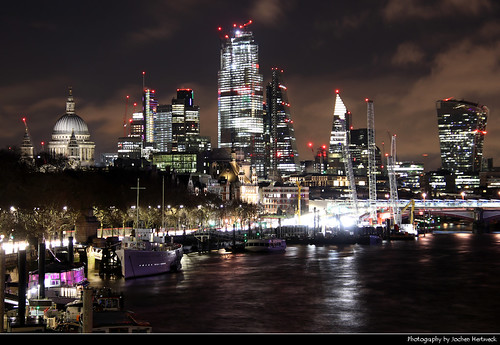 City of London skyline seen from Waterloo Bridge, London, UK