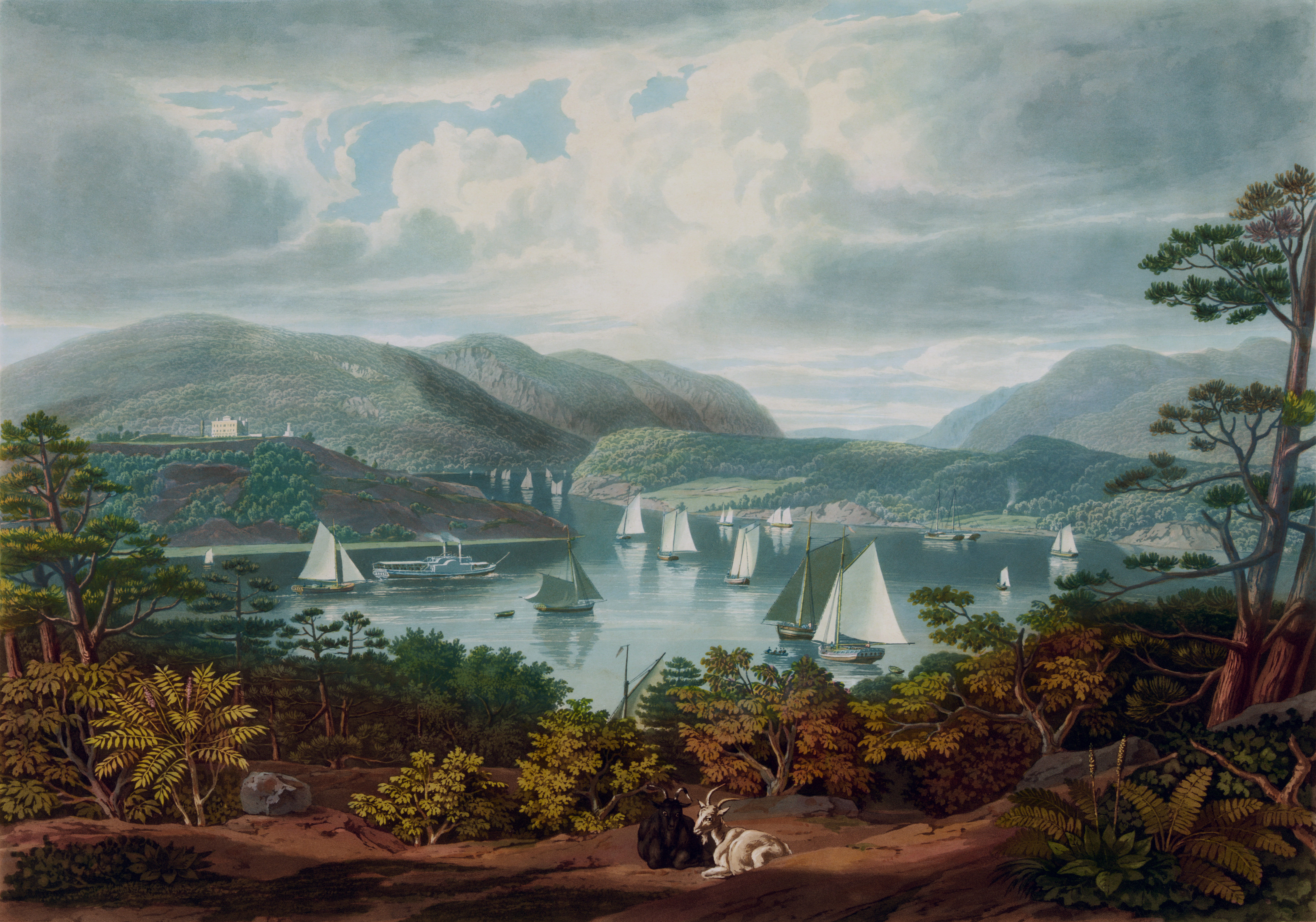 West Point, from Phillipstown. Color aquatint showing the original buildings of the United States Military Academy, with boats on Hudson River, two goats on hill in foreground, mountains in background. Printed by J. & G. Neale, copyright by Parker & Clover, 1831. From the collection of the Library of Congress, Prints and Photographs Division Washington, D.C. Reproduction Number: LC-DIG-pga-00209 (digital file from original print) LC-USZC4-5659 (color film copy transparency) LC-USZ62-12209 (b&w film copy neg.) LC-USZC4-501 (color film copy transparency) LC-USZC2-1875 (color film copy slide) Call Number: PGA - Bennett--West Point, from Phillipstown (D size) [P&P]