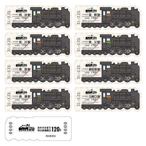 SL運行記念入場券~秩父鉄道創立120周年記念~☆記念入場券イメージ