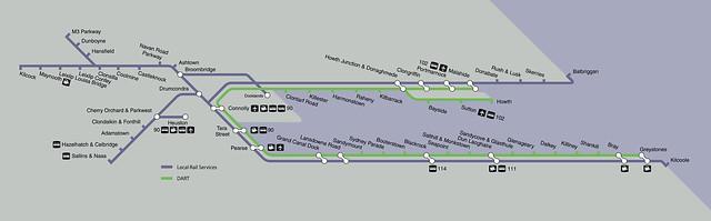 Irish Rail Dublin DART/Commuter Zone Map