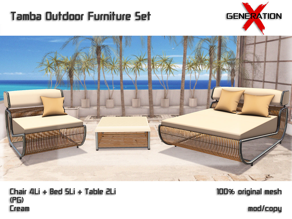 [Generation X] Tamba Outdoor Furniture Set Cream