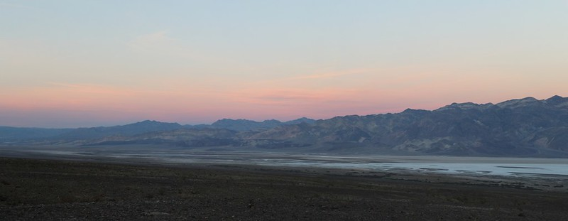 Sunset panorama from Hanaupah Canyon Road looking northeast across Death Valley