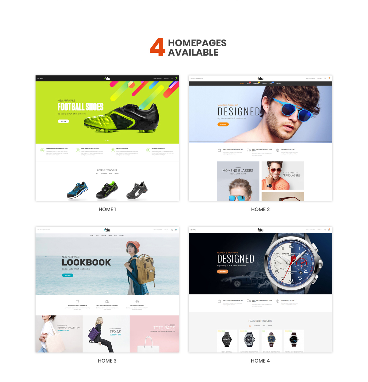 Multi homepage-Bos Idu Prestashop theme-Shoes, Handwatch, Fashion Store