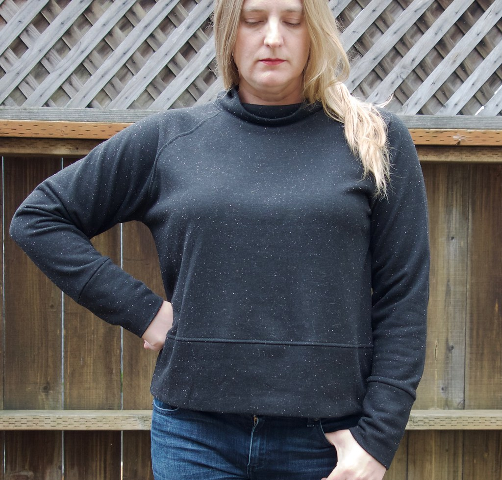 Toaster sweater #1 pattern from Sew House Seven sewn in black french terry.