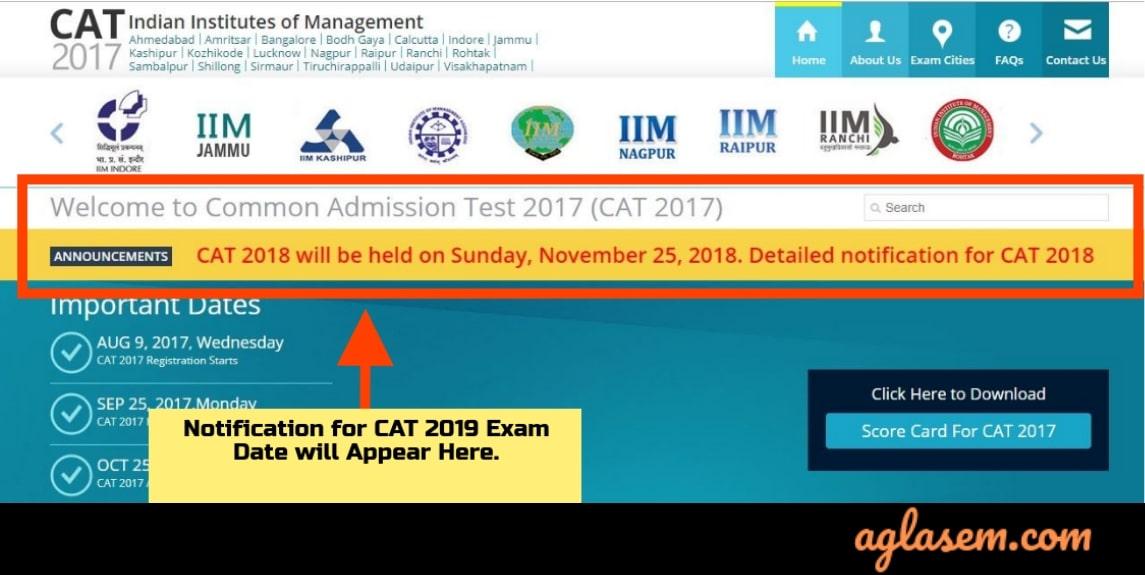 CAT 2019 Exam Date Notification