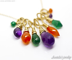 Lucinda - Amethyst Carnelian green Agate gold necklace Colorful gemstone cluster pendant. Handmade jewelry by Arctida.