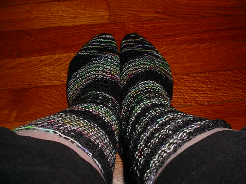 Garter-rib socks worn