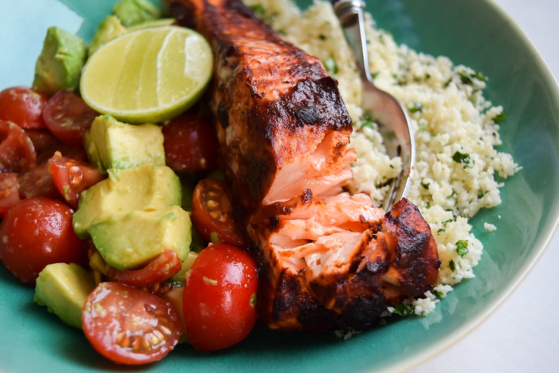 Baked Chipotle Salmon with Mexican Cauliflower Rice, Tomato & Avocado