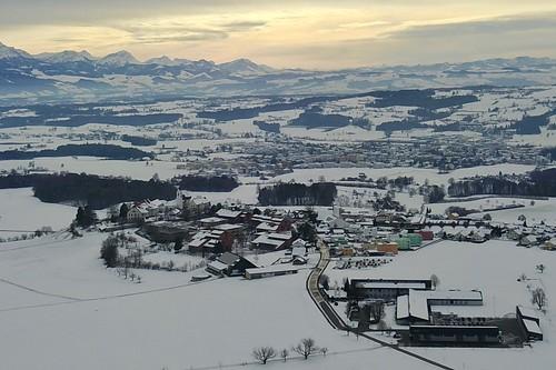 panoramic view on Hoherain & Hochdorf on a winter day Switzerland