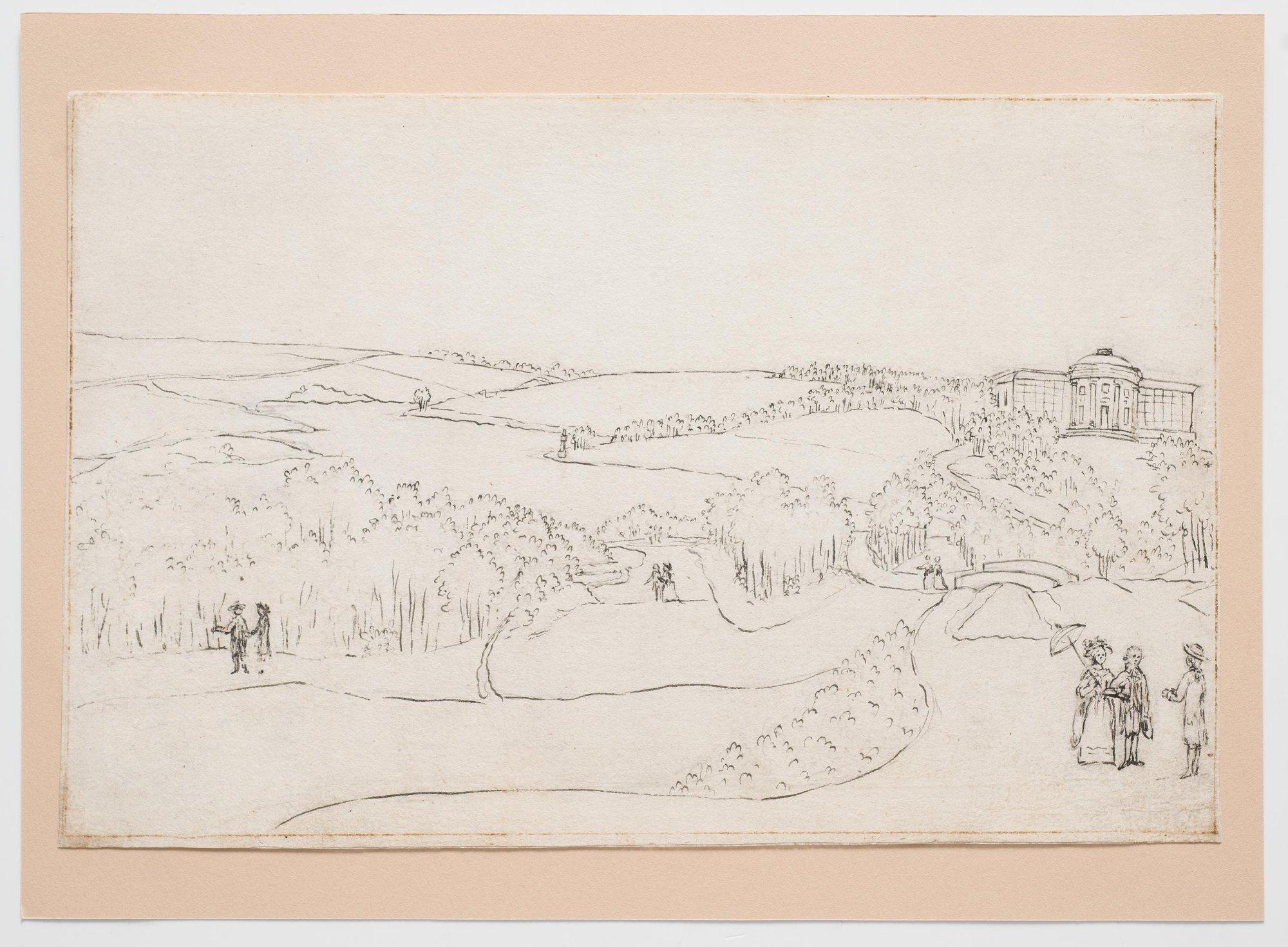 Вид Богородицкого парка с садовым павильоном на дальнем плане