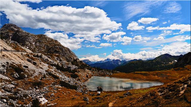 The Valparola lake in the Dolomites