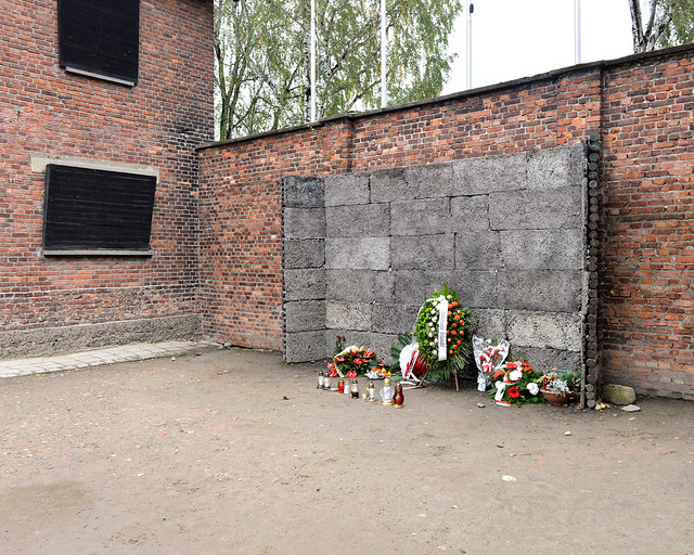 Muro de la muerte de Auschwitz en Polonia