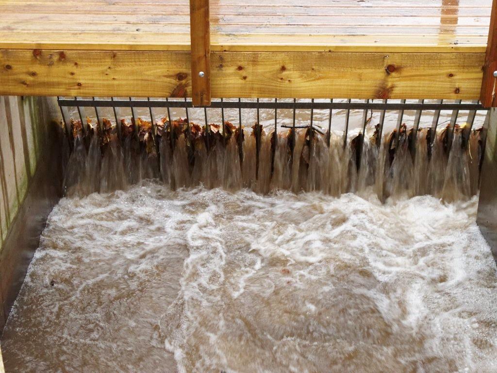 河道中的落葉與垃圾會影響發電、除了設下柵欄外,也需定期清除。圖片來源:Ben Alexander