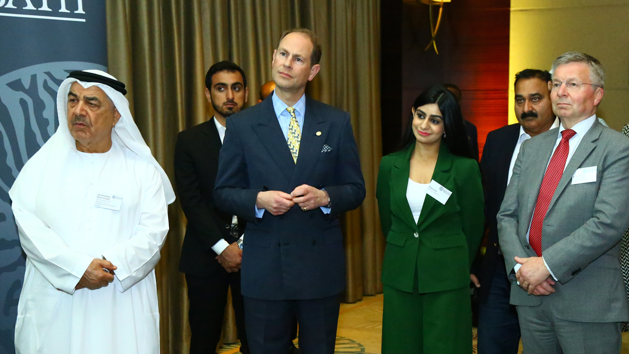 The Chancellor, His Excellency Khalil Foulathi and Ritika Israni.