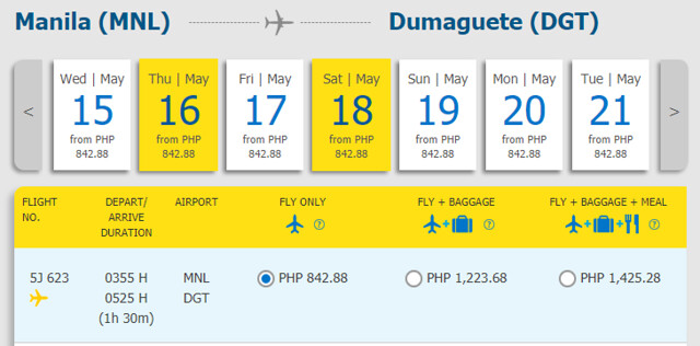 Cebu Pacific Snap Sale Manila to Dumaguete