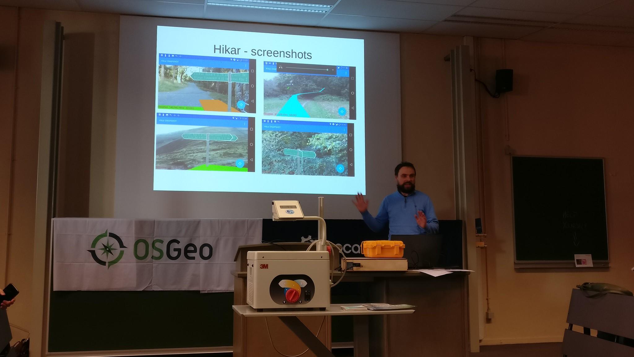 FOSDEM 2019 - Nick Whitelegg presenting Hikar