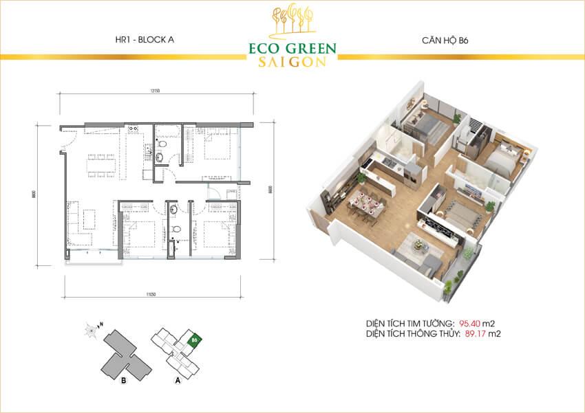 Mặt bằng căn hộ 3 phòng ngủ loại B6 dự án Eco-Green Sài Gòn quận 7.