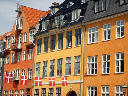 Bright houses in Nyhavn in Copenhagen, Denmark