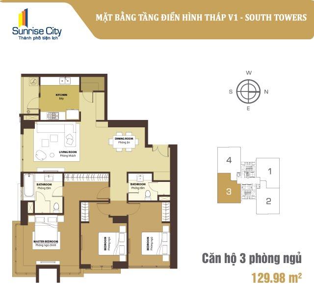 Mặt bằng căn hộ 3 phòng ngủ Sunrise City quận 7 - tháp V1, khu South.