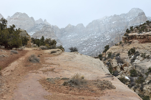 Snowy hiking in the desert
