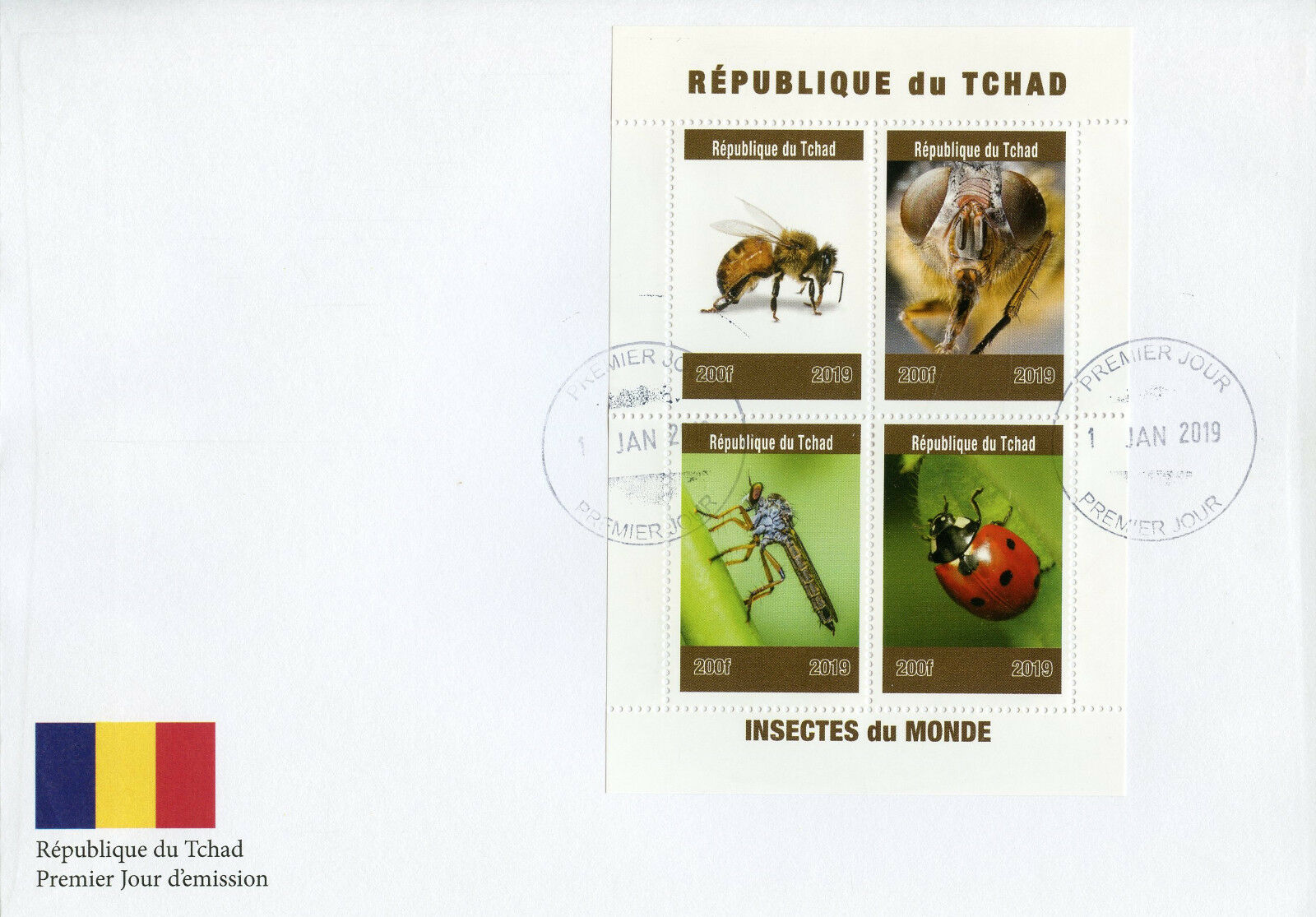 Republic of Chad - Insects of the World (January 2, 2019) first day cover