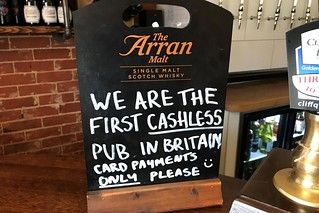 First Cashless Pub in Britain sign