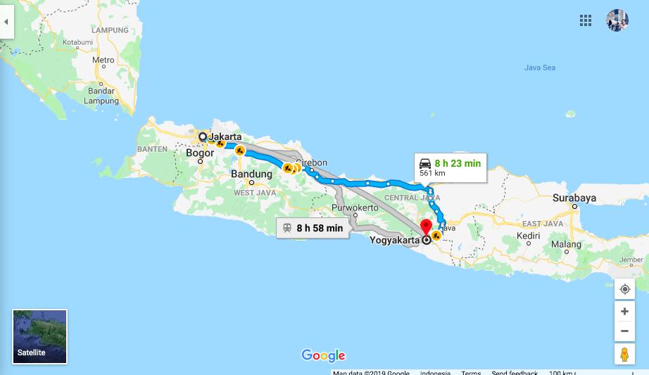 Map Jakarta to Yogya